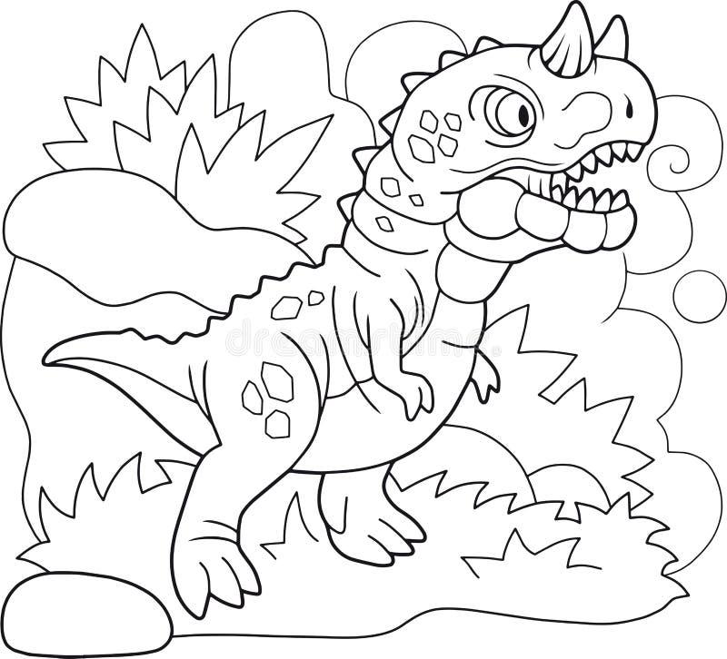 Carnotaurus prehistórico del dinosaurio, libro de colorear, ejemplo divertido ilustración del vector