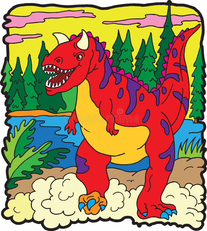 carnotaurusdinosaur stock illustrationer