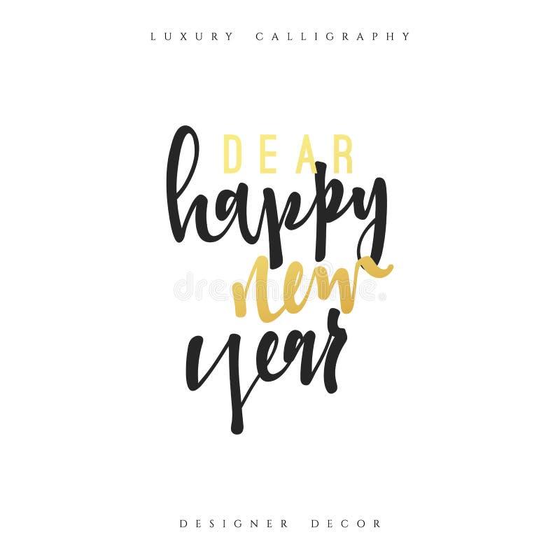 Caro buon anno che segna calligrafia con lettere fatta a mano illustrazione vettoriale