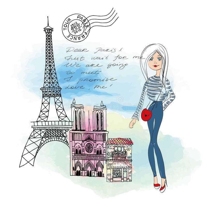 Caro cartão de Paris fotografia de stock royalty free