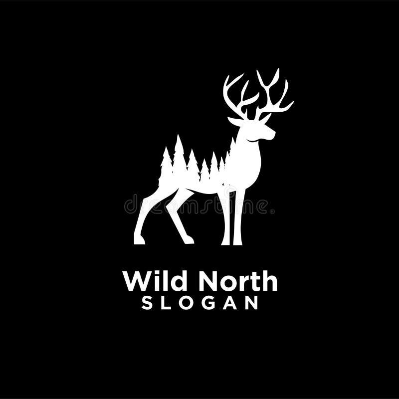 caro con il logo negativo di legno dello spazio della foresta illustrazione vettoriale