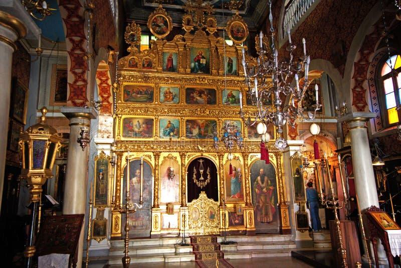 Caro Corfú, Grecia de Auguri, el 18 de octubre de 2018, detalles de una pequeña iglesia ortodoxa en el centro de la ciudad foto de archivo libre de regalías