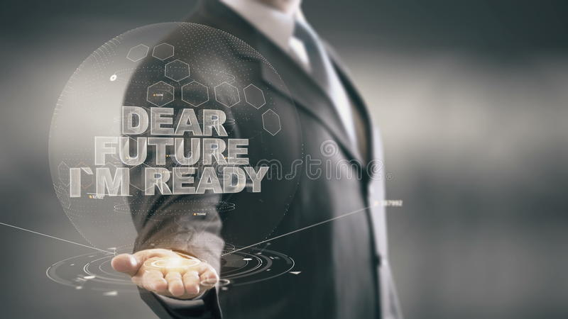 Caro futuro eu sou novas tecnologias disponivéis de Holding do homem de negócios pronto fotos de stock royalty free