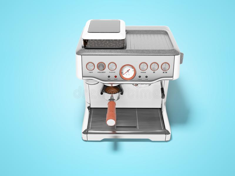 Carob espresso coffee maker with capacity for coffee 3d render illustration on blue background with shadow. Carob espresso coffee maker with capacity for coffee stock illustration