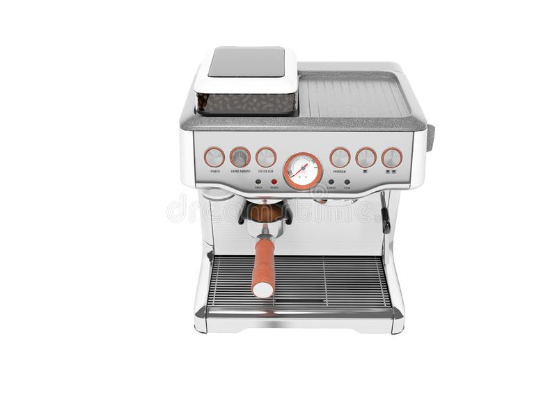 Carob espresso coffee maker with capacity for coffee 3d render illustration on white background no shadow. Carob espresso coffee maker with capacity for coffee vector illustration