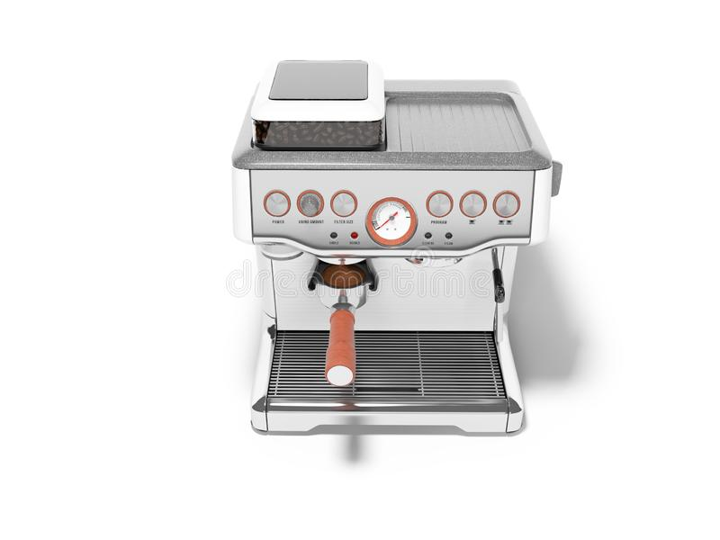 Carob espresso coffee maker with capacity for coffee 3d render illustration on white background with shadow. Carob espresso coffee maker with capacity for coffee stock illustration