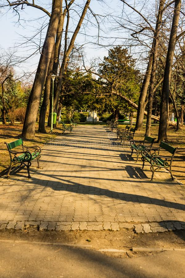 Carol Park in Bucharest, Romania. Empty alley.  stock image