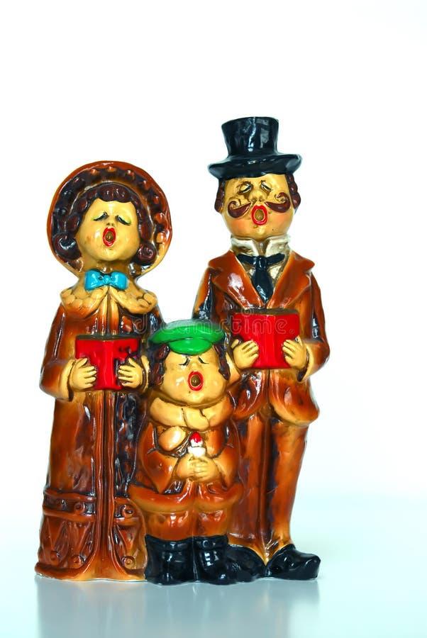 Carolers antigos do Natal fotografia de stock
