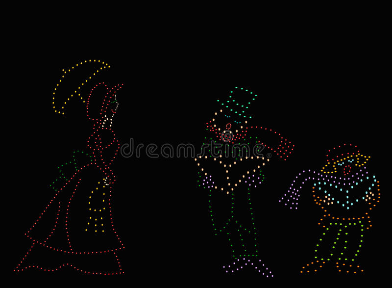 Carolers Démodés De Noël Image libre de droits