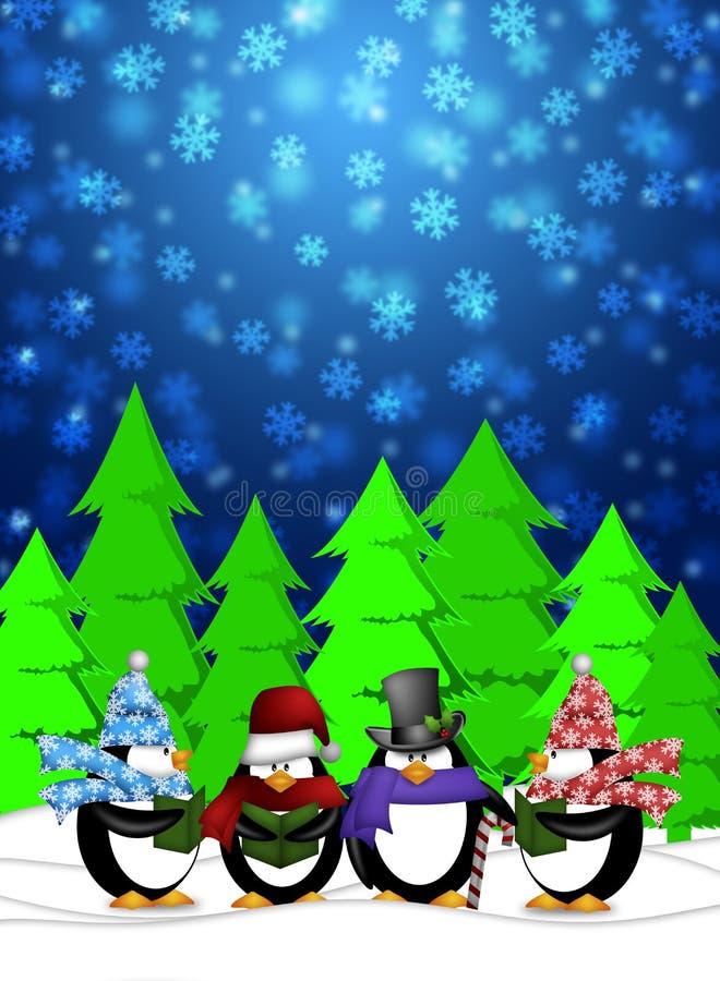 Carolers dei pinguini che cantano nella scena di nevicata di inverno illustrazione di stock