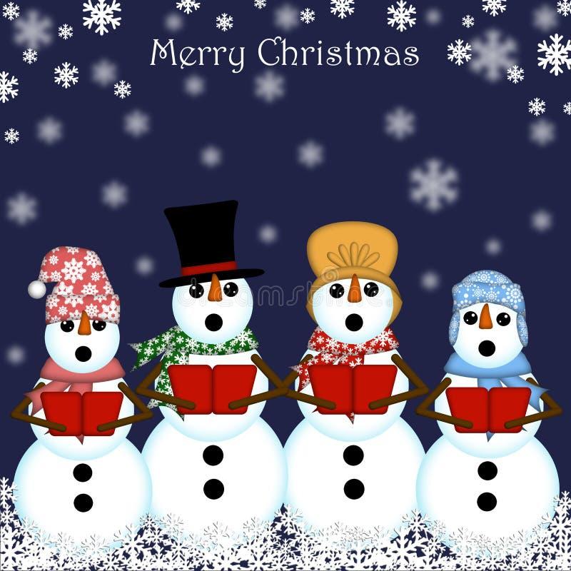 Carolers del pupazzo di neve di natale che cantano royalty illustrazione gratis