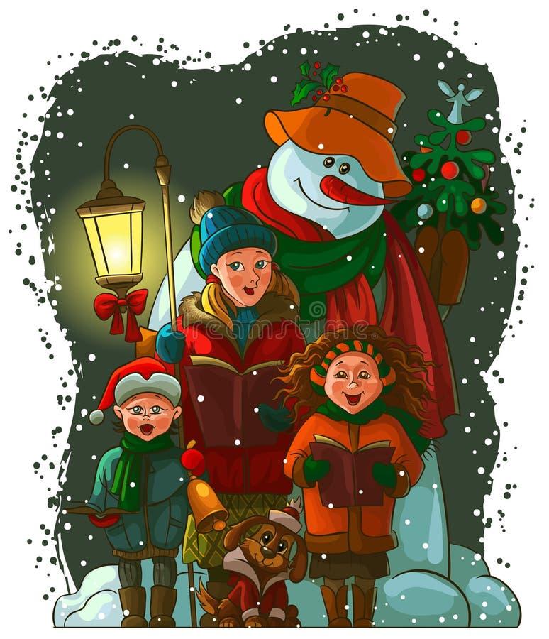 Carolers do Natal ilustração do vetor