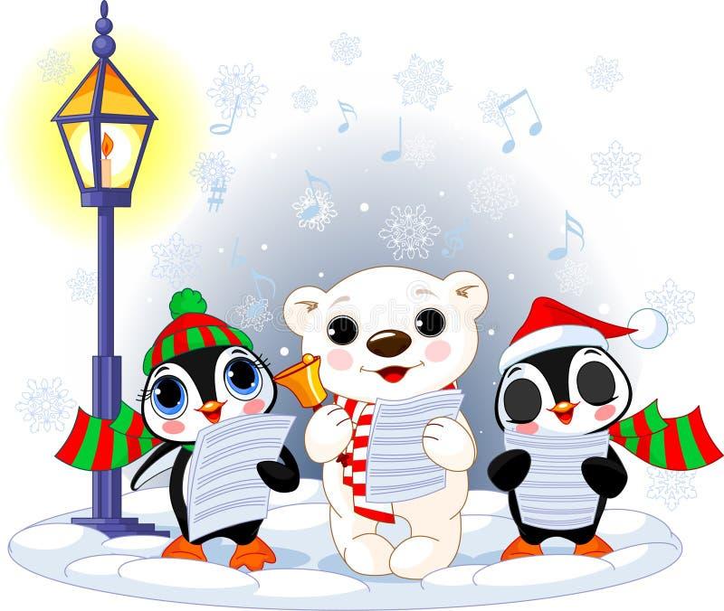 Carolers do Natal. Urso polar e dois pinguins ilustração royalty free