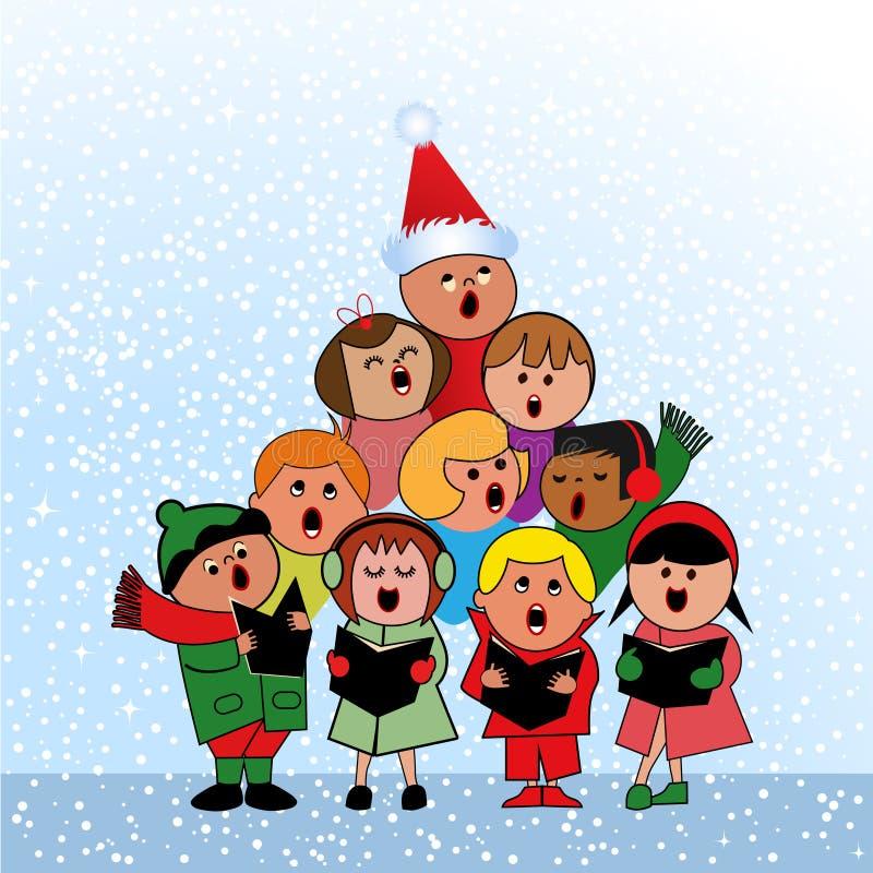 Carolers i form av jultreen royaltyfri illustrationer