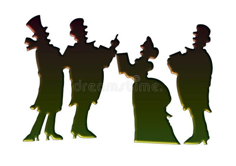 Carolers victoriens de Noël illustration de vecteur
