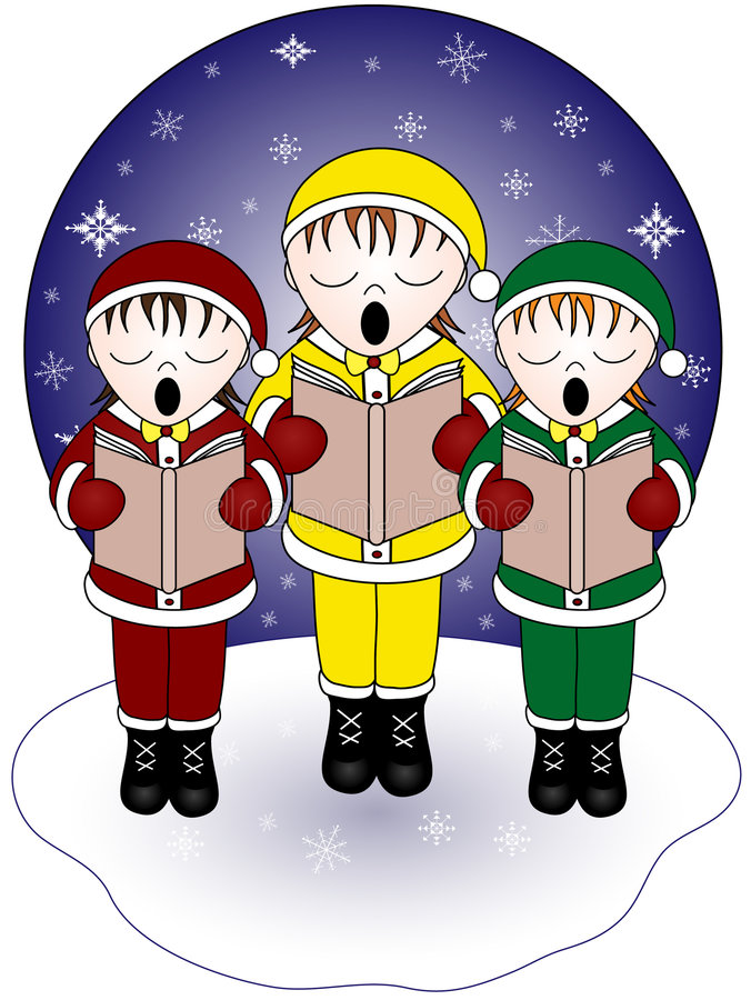 carolersjul royaltyfri illustrationer
