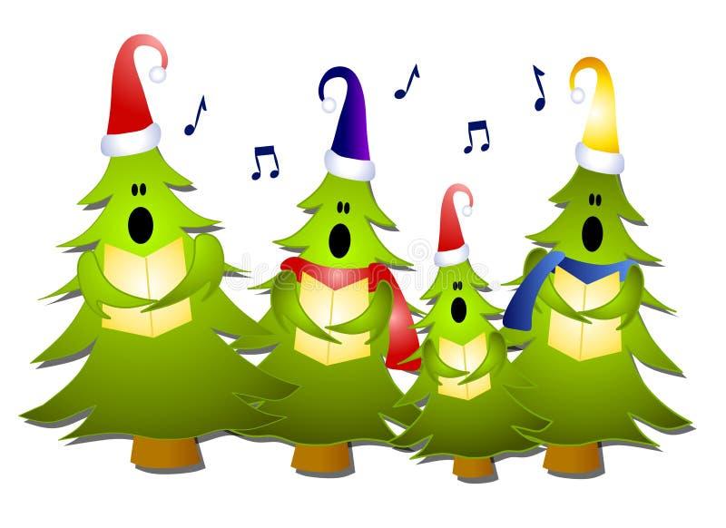 carolersjul som sjunger treen royaltyfri illustrationer