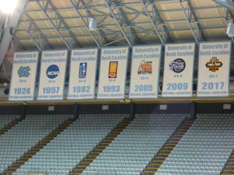 Carolina Basketball Championship Banners Photo norte - 5 de abril de 2019 imagens de stock royalty free