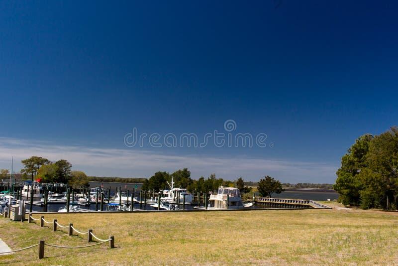 Carolina Beach State Park Marina na extremidade sul das neves cortou em North Carolina imagem de stock royalty free
