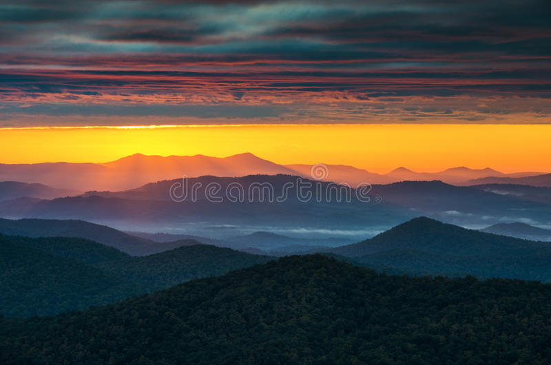 Carolina Blue Ridge Parkway Sunrise norte Asheville NC fotografia de stock royalty free