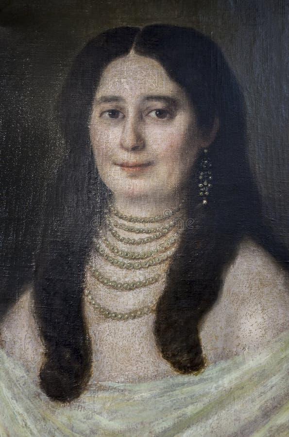 Carolina Coronado målning av Diego Lines royaltyfria bilder