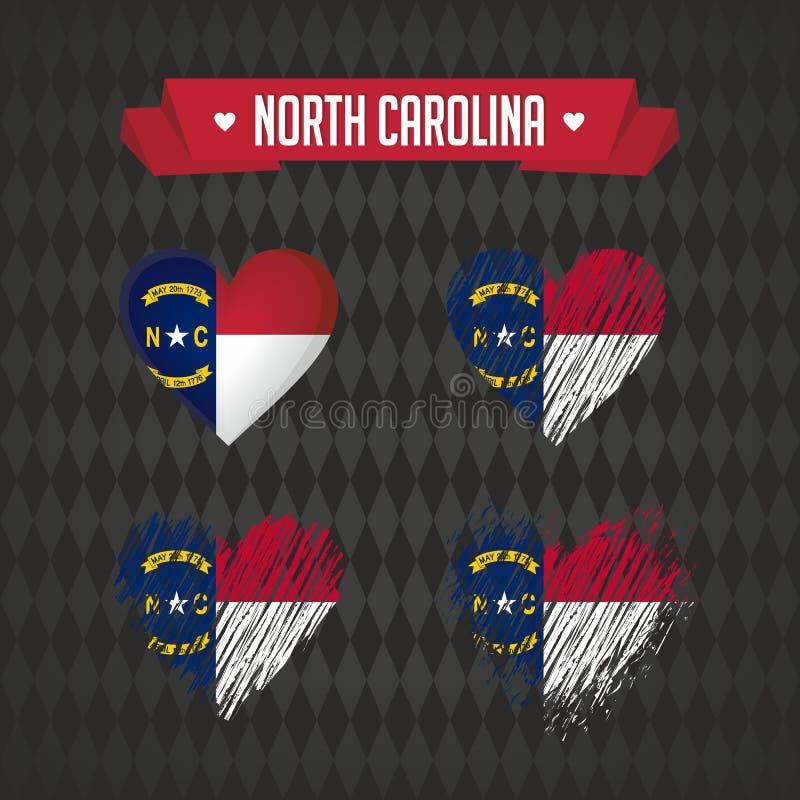 Carolina del Norte Colección de cuatro corazones del vector con la bandera Silueta del corazón ilustración del vector