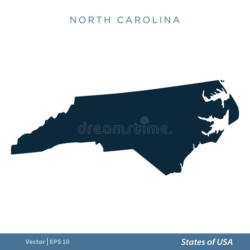 Carolina del Norte - estados del diseño del ejemplo de la plantilla del vector del icono del mapa de los E.E.U.U. Vector EPS 10 libre illustration