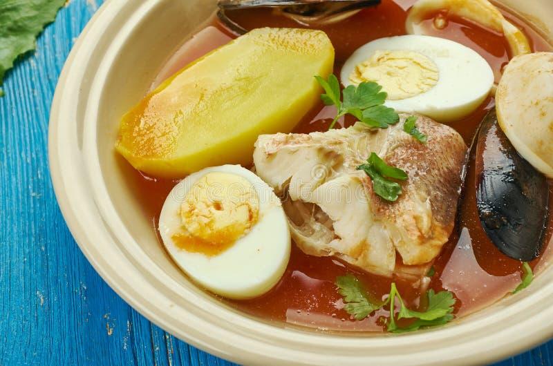 Carolina Fish Muddle. American delicious seafood stew stock photos