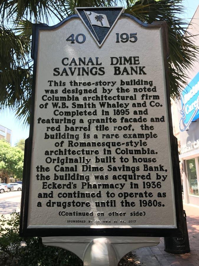Carolina Historic Placard del sud che dettaglia la creazione della costruzione di cassa di risparmio della moneta da dieci centes fotografie stock