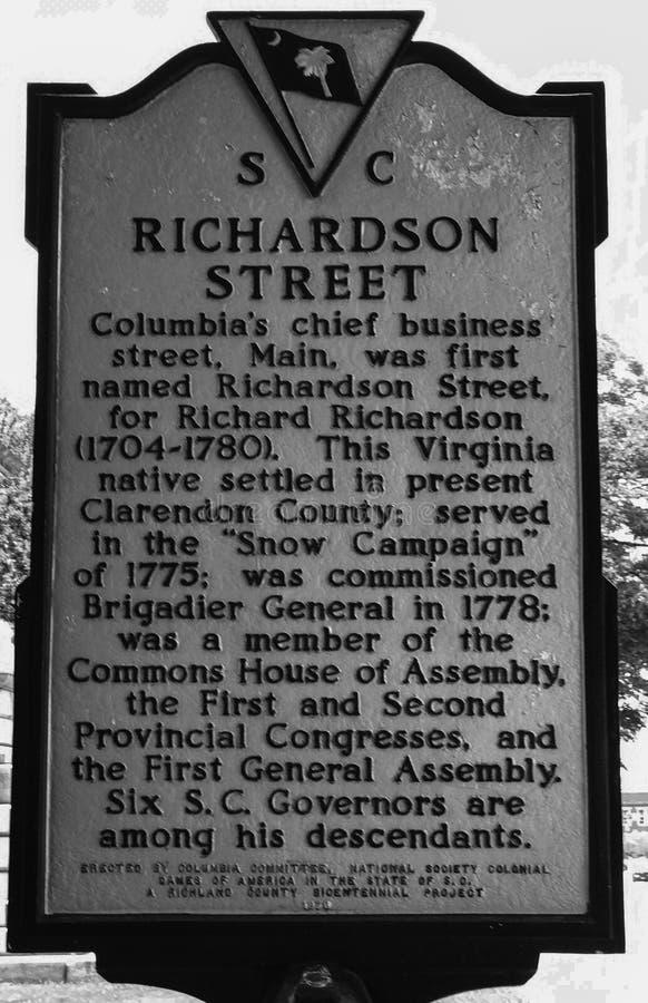 Carolina Historic Placard du sud détaillant la nomination de Richardson Street en Colombie, Sc photographie stock libre de droits