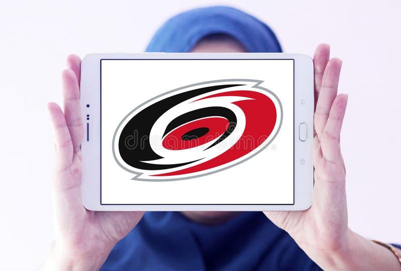 Carolina Hurricanes ice hockey team Club logo. Logo of Carolina Hurricanes ice hockey team Club on samsung tablet holded by arab muslim woman. The Carolina royalty free stock photos