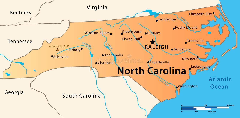 Carolina Map du nord illustration stock