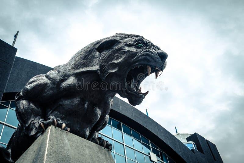 North Carolina Panthers football panther statue roaring fierce. Carolina Panthers black cat statue roaring and baring teeth in front of football stadium stock photo