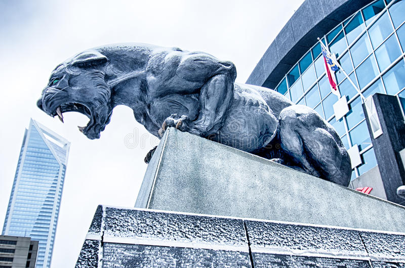 Carolina panthers statue covered in snow royalty free stock photography
