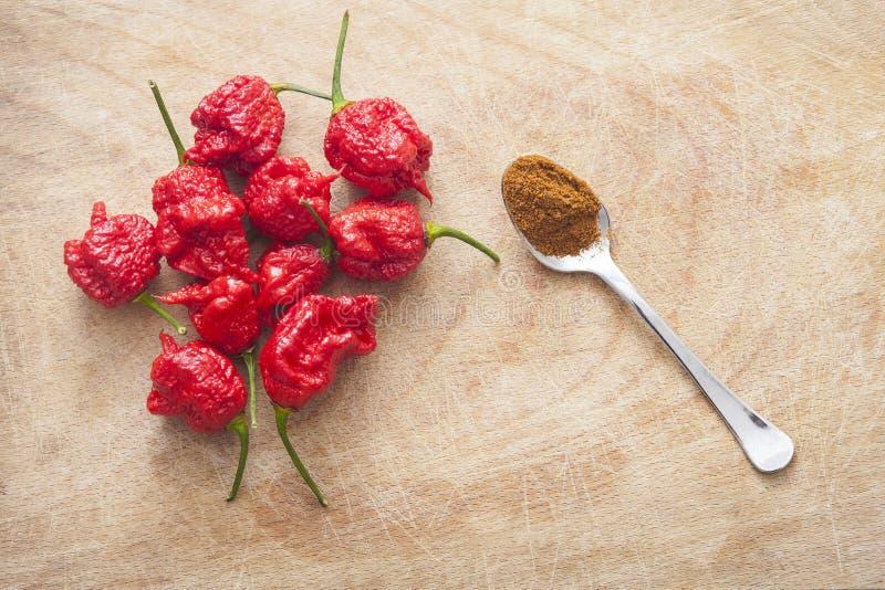 Carolina Reaper Chile Pepper, Whole Pod Stock Photo - Image