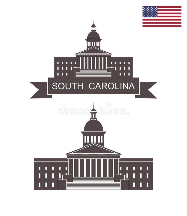 carolina södra tillstånd Södra Carolina State House i Columbia stock illustrationer
