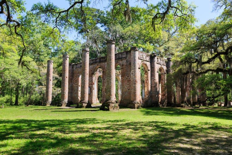 Carolina Sheldon Church Ruins du sud images libres de droits