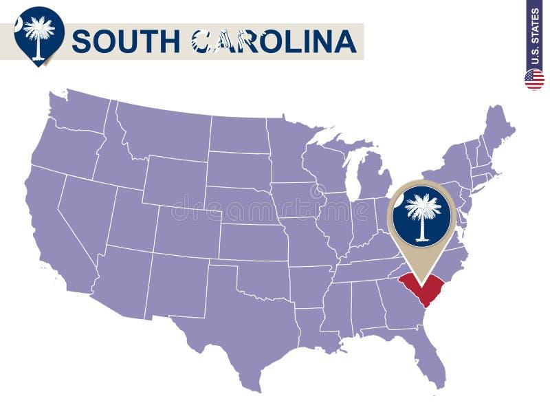 Carolina State du sud sur les Etats-Unis tracent Drapeau et carte de la Caroline du Sud illustration stock
