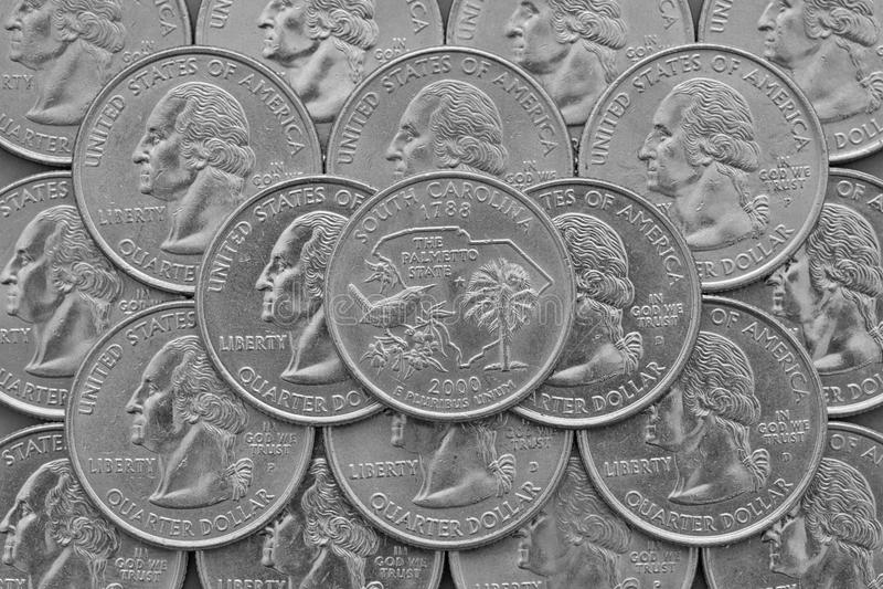 Carolina State y monedas del sur de los E.E.U.U. fotografía de archivo