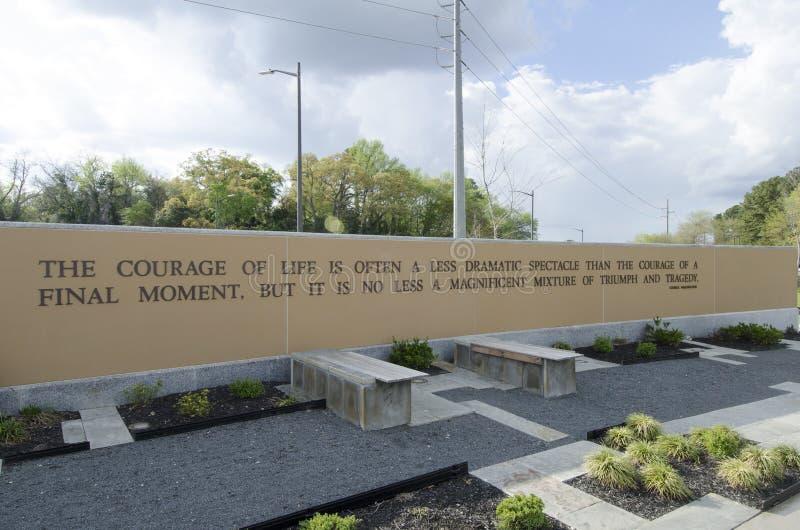 Carolina Veterans Park del norte, Fayetteville 22 de marzo de 2012: Parquee dedicado a todos los veteranos del NC en el estado imagenes de archivo