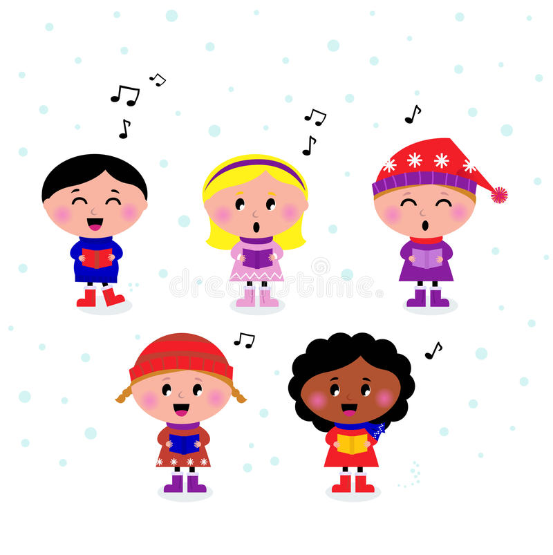 caroling的逗人喜爱的孩子多文化唱歌 向量例证
