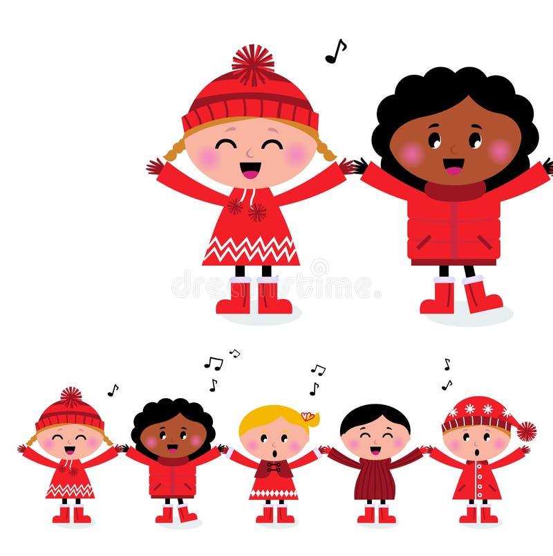 caroling усмехаться счастливых малышей многокультурный иллюстрация вектора