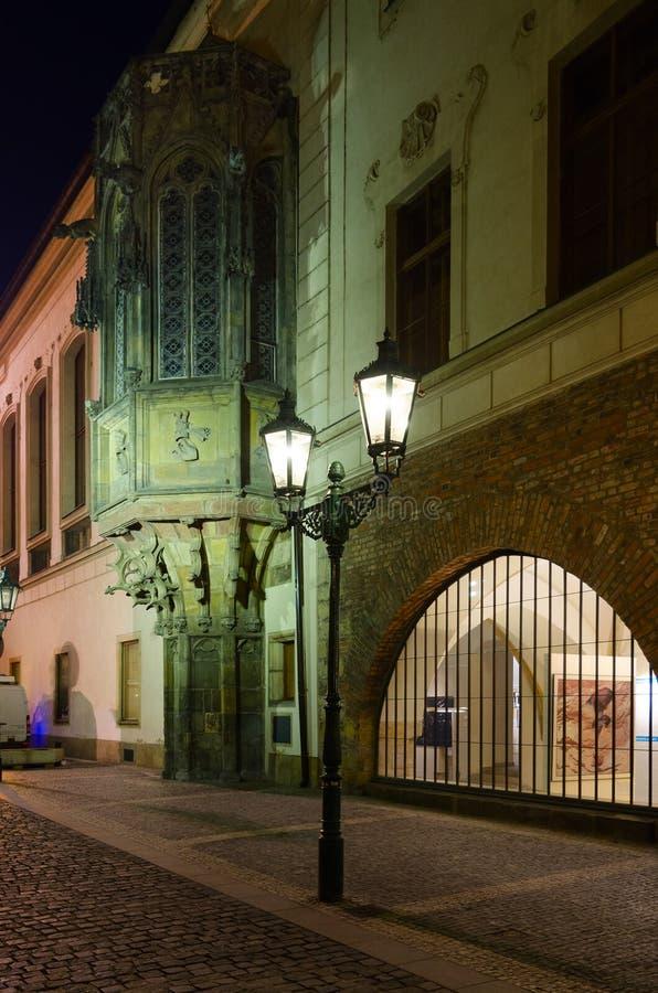 Carolinum Charles University, ancient Gothic openwork Bay window, evening Prague, Czech Republic stock photo