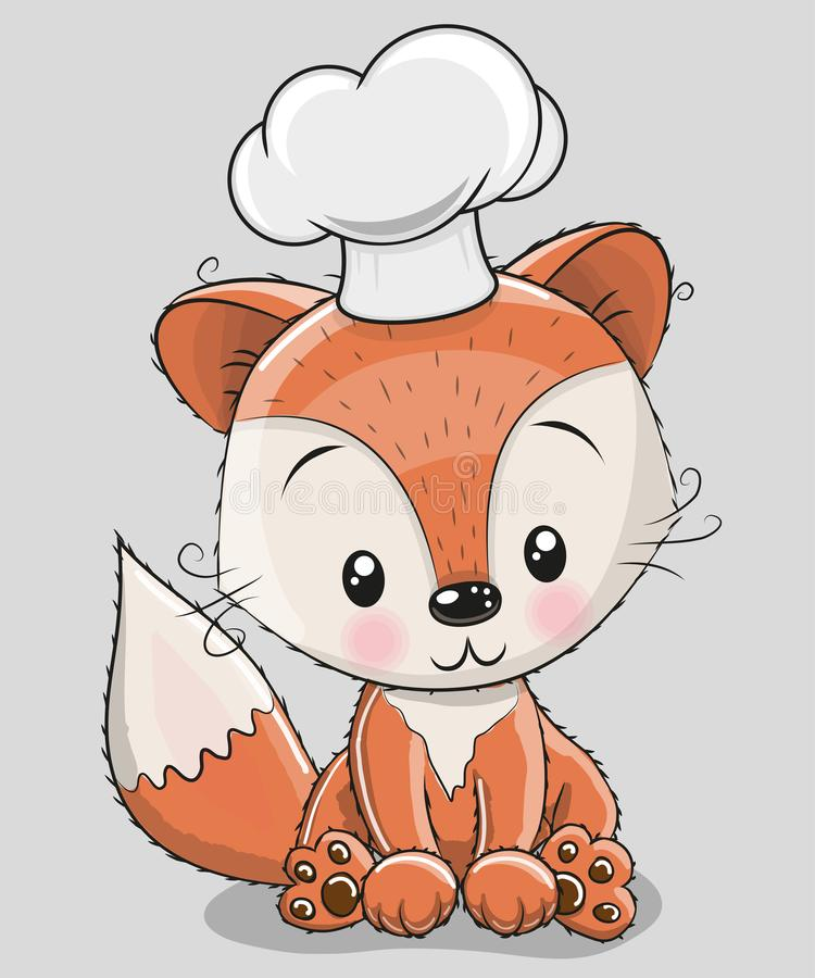 Caroon Fox in a cook hat. Cute Caroon Fox in a cook hat isolated on a gray background stock illustration