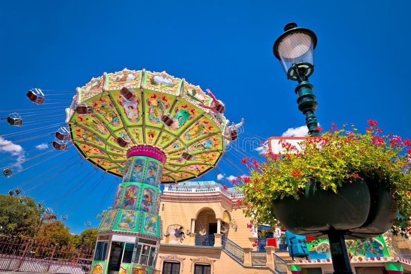 Carosello del parco di divertimento di Prater nella vista di Vienna immagini stock libere da diritti