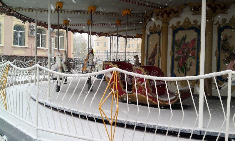 Carosello di inverno a Tomsk, Russia immagine stock