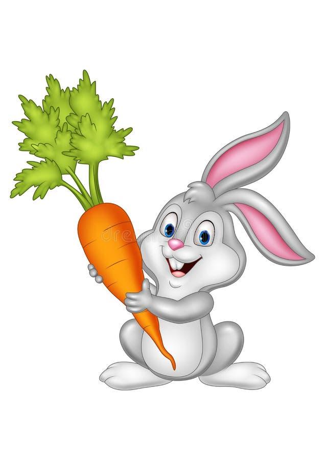 Carota della tenuta del coniglio del fumetto su fondo bianco royalty illustrazione gratis