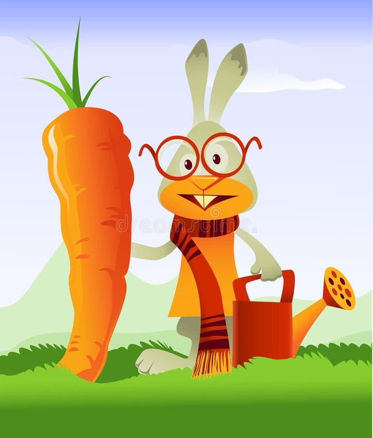 Carota felice del gigante e del coniglio royalty illustrazione gratis