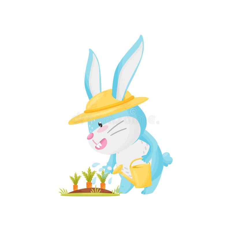 Carote d'innaffiatura del giardino del coniglio del fumetto Illustrazione di vettore illustrazione di stock