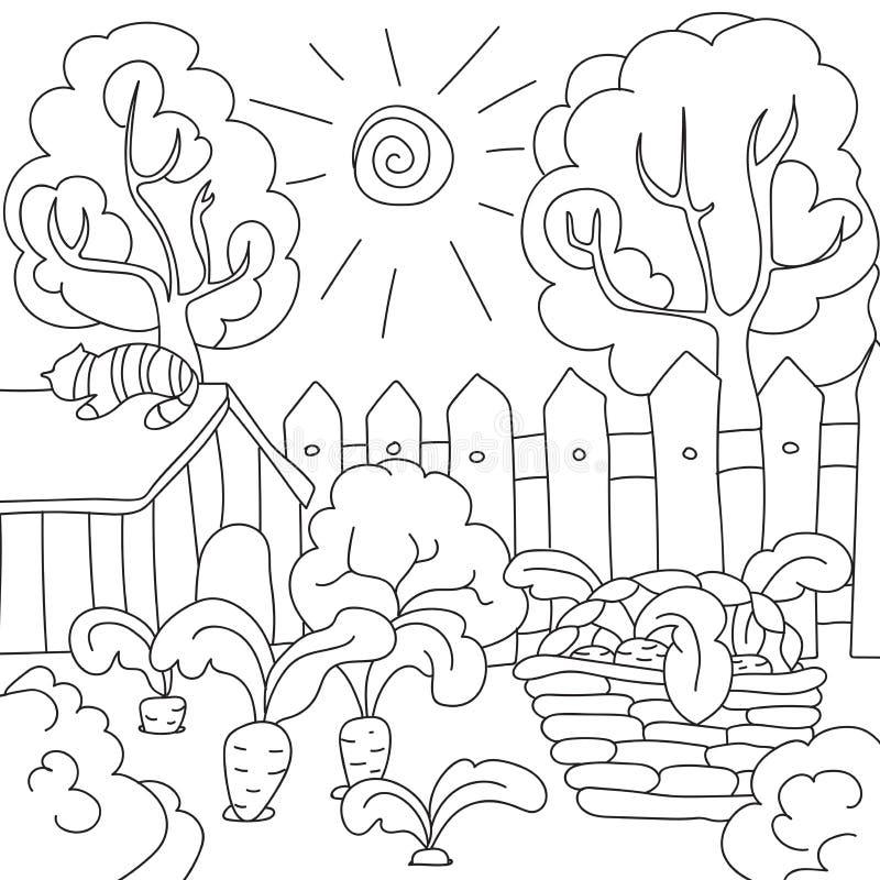 Carote del libro da colorare di vettore nel giardino illustrazione di stock